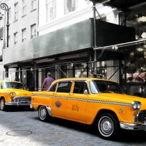 NY Streets - Yellow Cabs #1 Large Size Digital Painting