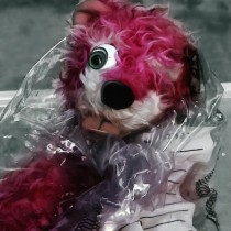 Pink Teddy Bear in evidence bag Large Size Digital Painting
