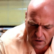 Detail of Hank Schrader sitting on WC Large Size Painting