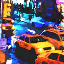 Detail of NY Streets - Yellow Cabs #3 Large Size Painting