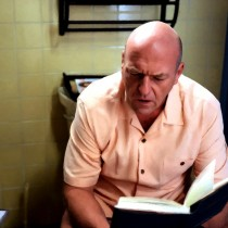 Hank Schrader sitting on WC Large Size Painting