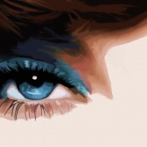 Detail of Wink - Pretty Faces Series #1 Large Size Digital Painting