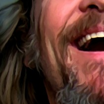 Detail of Jeff Bridges as The Dude @ The Big Lebowski (Joel and Ethan Coen - 1988) Large Size Digital Painting Size: W 150 cm - H 150 cm